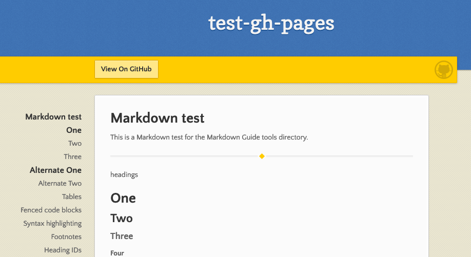 Example of GitHub Pages websites
