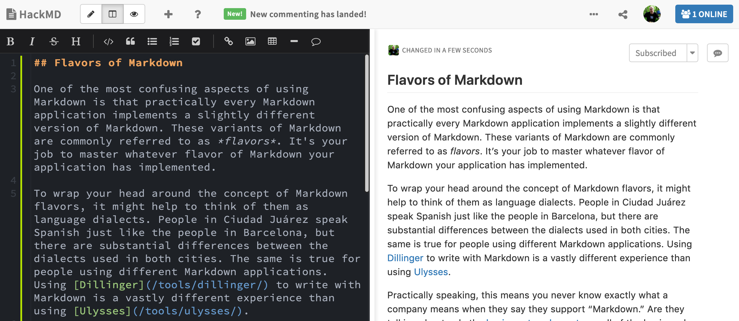 The HackMD Markdown interface