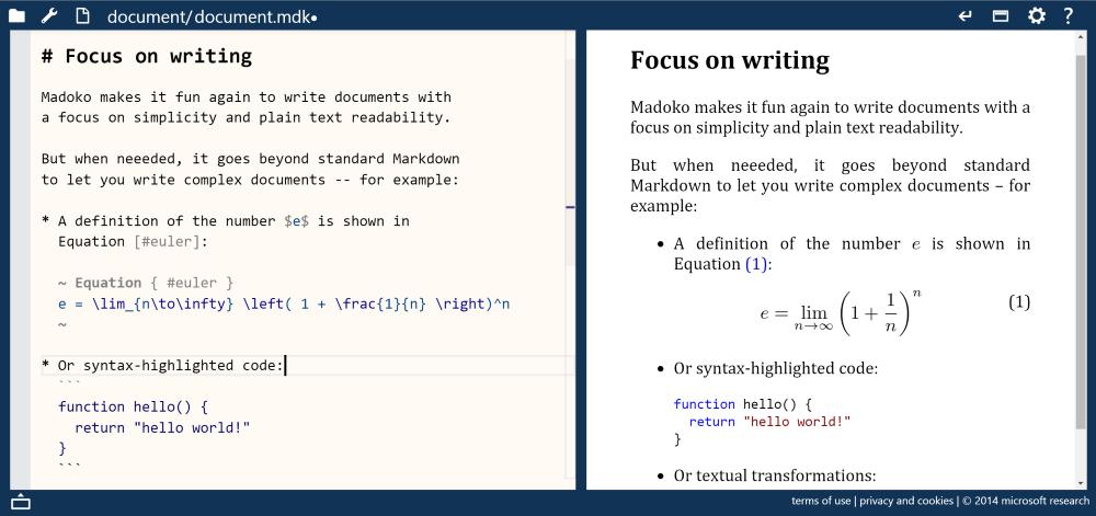 Madoko editor interface