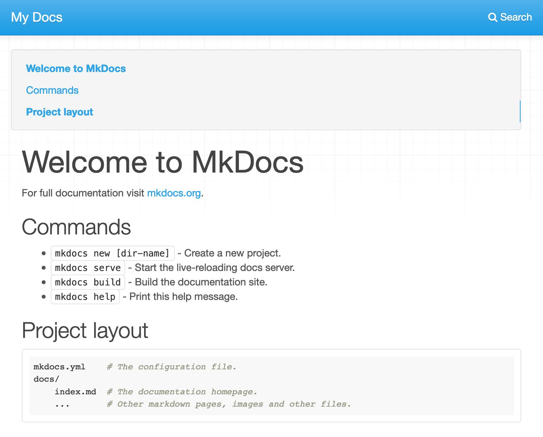 A newly deployed MkDocs site.