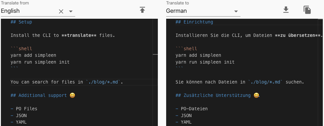 Simpleen Markdown translation tool