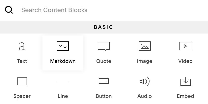 Squarespace Markdown block