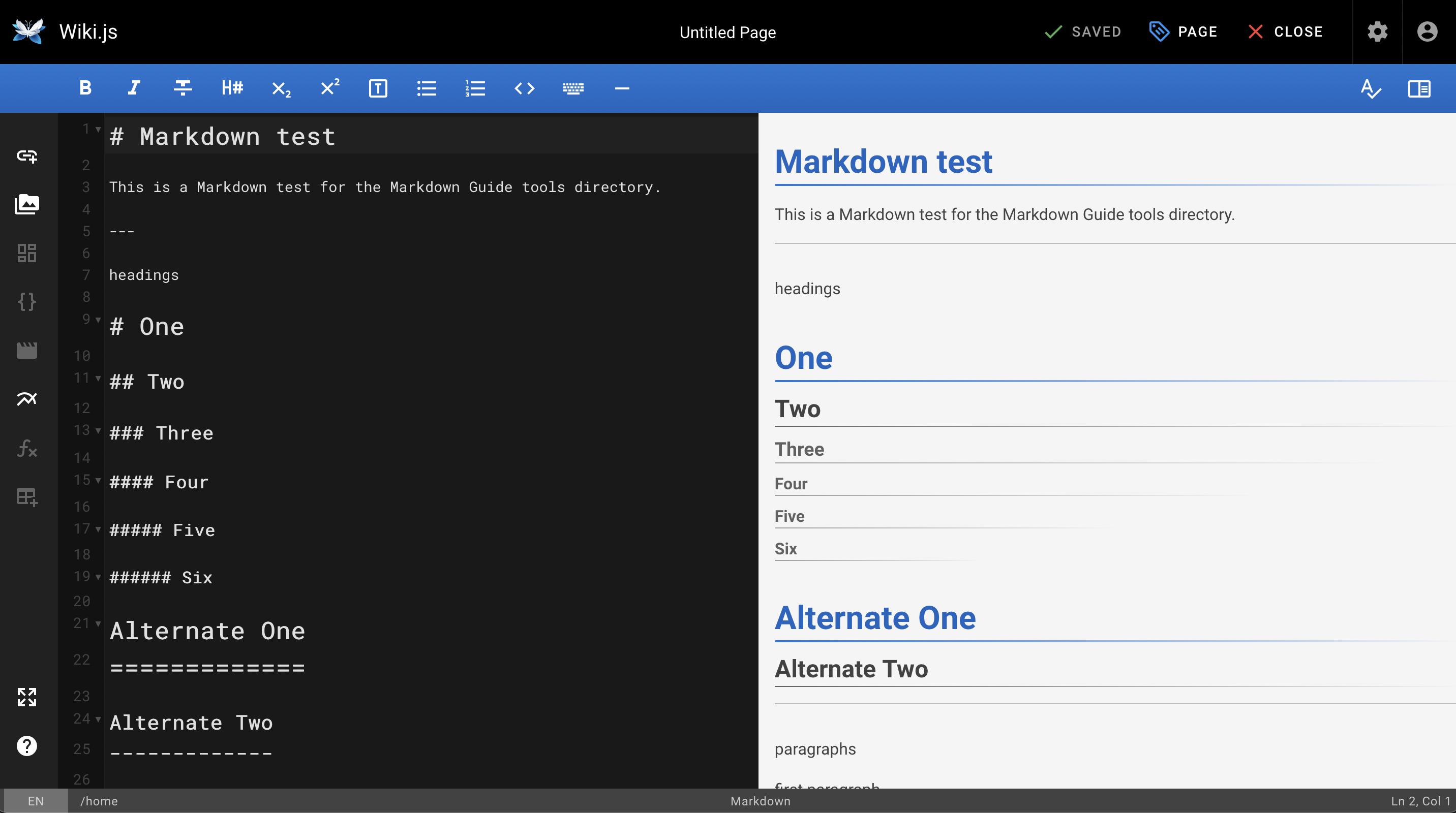 Wiki.js Markdown application